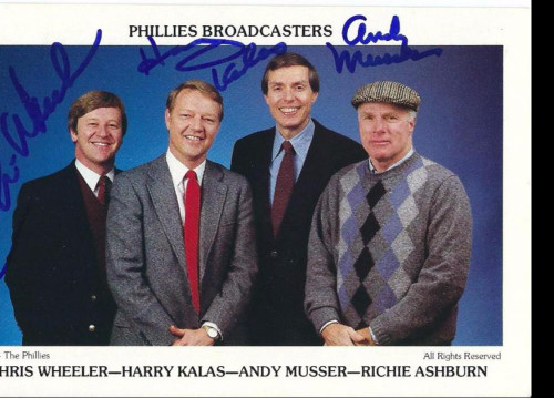 Harry Kalas, Andy Musser & Chris Wheeler Autographed 1984 Phillies Team Issued Postcard