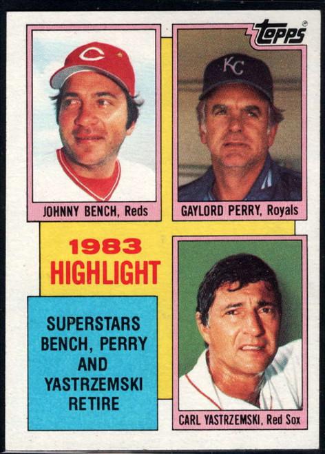 1984 Topps #6 Johnny Bench/Gaylord Perry/Carl Yastrzemski HL VG Cincinnati Reds/Kansas City Royals/Boston Red Sox