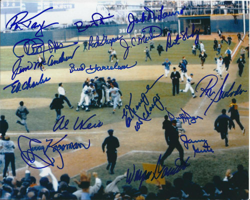 1969 World Series Champion Amazin' Mets Autographed 8 x 10 Photo 17 Autographs