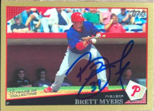 Brett Myers Autographed 2009 Topps - Gold Border #632 LE 2009