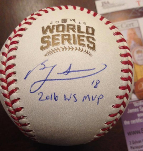 Ben Zobrist 2016 W.S. MVP Autographed 2016 World Series Baseball JSA Authenticated