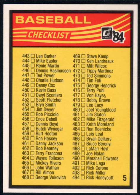 1984 Donruss #NNO5 Checklist 443-546 VG