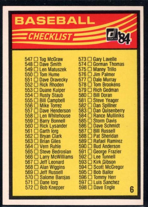 1984 Donruss #NNO6 Checklist 547-651 VG