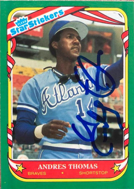 Andres Thomas Autographed 1987 Fleer Star Stickers #117