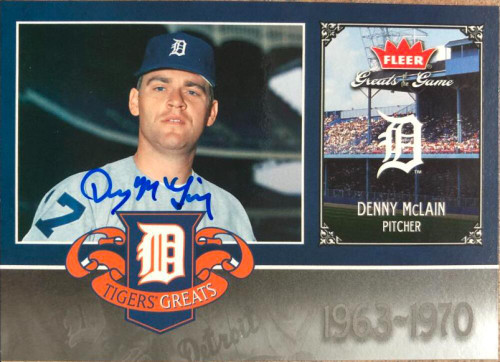 Denny McLain Autographed 2006 Fleer Greats of the Game - Tigers Greats #DET-DM