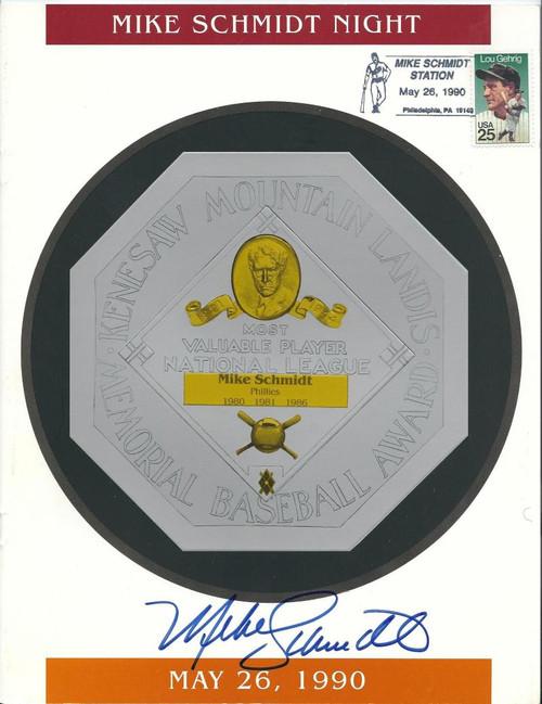 Mike Schmidt Night May 26, 1990 Autographed Program Phillies Number Retirement