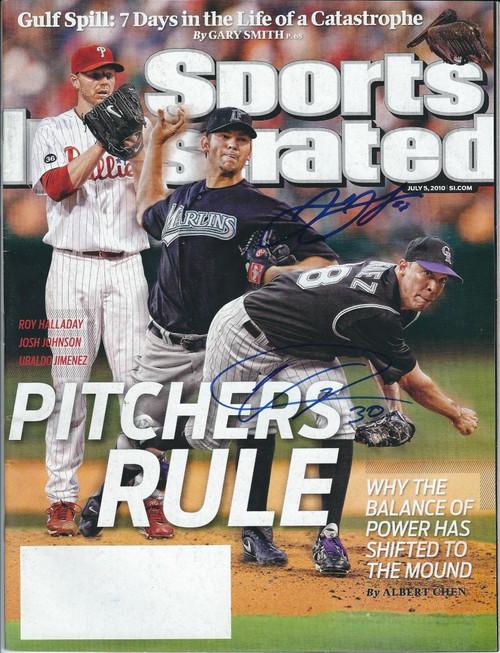 Josh Johnson and Ubaldo Jimenez Autographed 7-5-2010 Sports Illustrated No Label