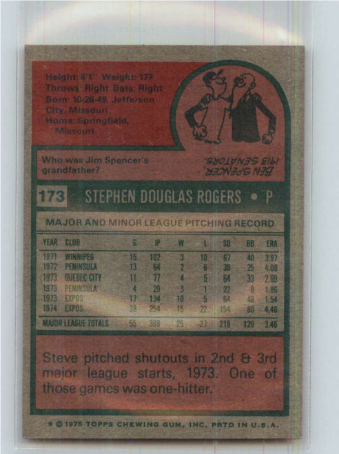 1975 Topps #173 Steve Rogers VG Montreal Expos
