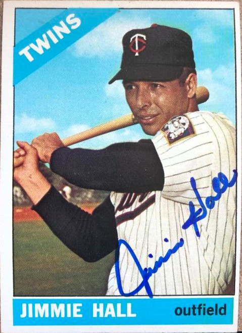 Jimmie Hall Autographed 1966 Topps #190 VERY TOUGH