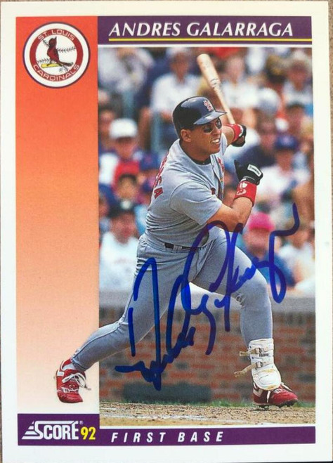 Andres Galarraga Autographed 1992 Score Rookie/Traded #60T