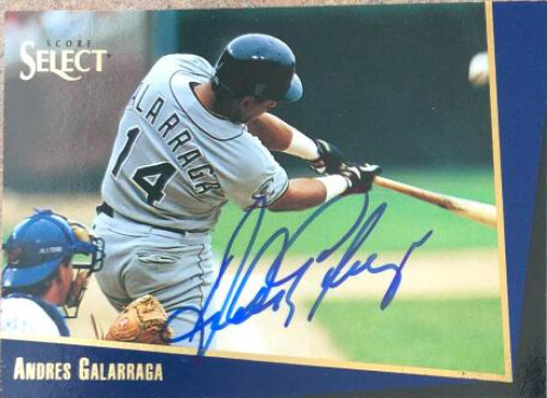 Andres Galarraga Autographed 1993 Score Select Rookie/Traded #102T