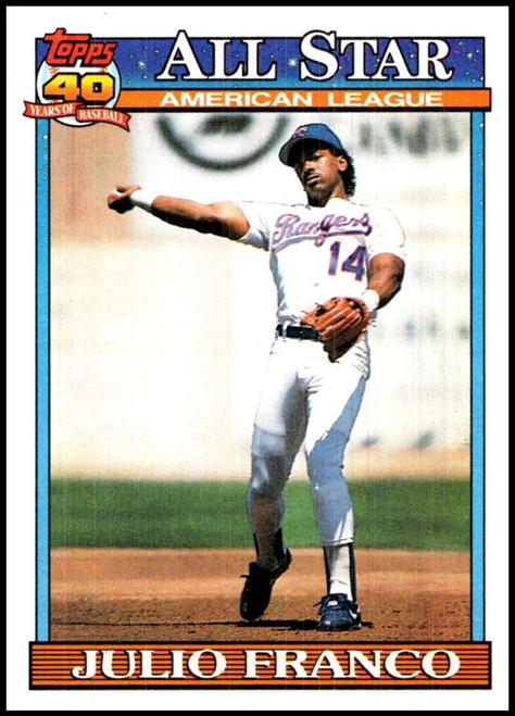 1991 Topps #387 Julio Franco AS VG Texas Rangers