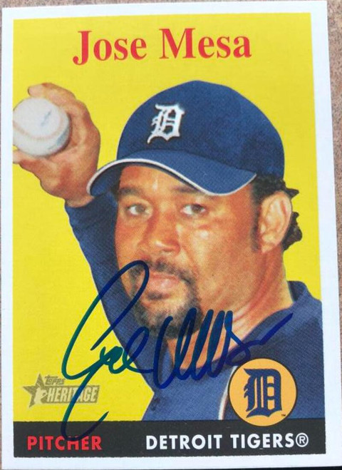 Jose Mesa Autographed 2007 Topps Heritage #374