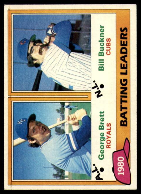 1981 Topps #1 George Brett/Bill Buckner Batting Leaders VG Kansas City Royals/Chicago Cubs