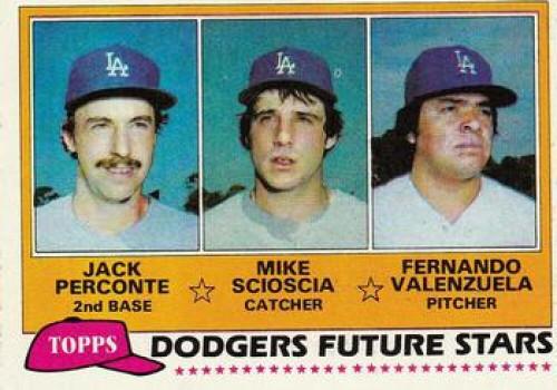 1981 Topps #302 Jack Perconte/Mike Scioscia/Fernando Valenzuela Dodgers Rookies VG RC Rookie Los Angeles Dodgers