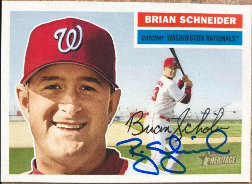 Brian Schneider Autographed 2005 Topps Heritage #27