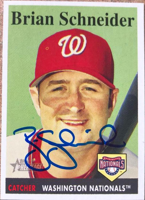 Brian Schneider Autographed 2007 Topps Heritage #114