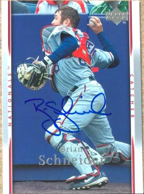 Brian Schneider Autographed 2007 Upper Deck #460