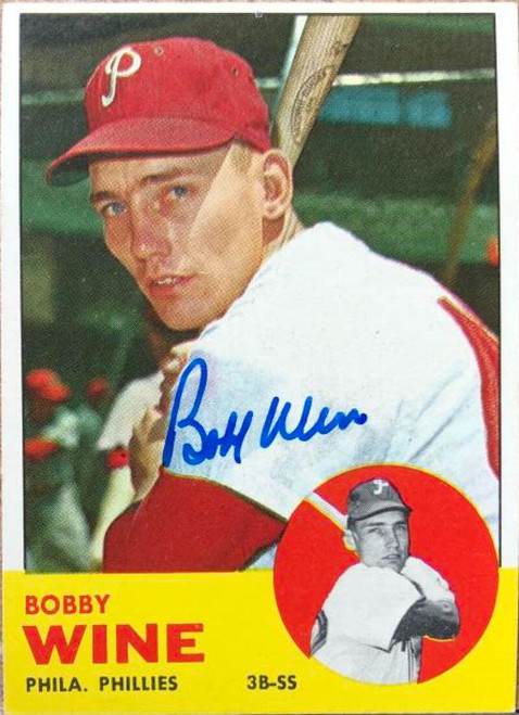 Bobby Wine Autographed 1963 Topps #71 Rookie Card