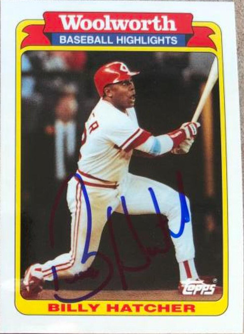 Billy Hatcher Autographed 1991 Topps Woolworth Baseball Highlights #27