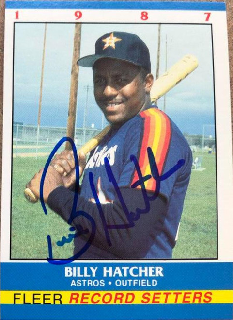 Billy Hatcher Autographed 1987 Fleer Record Setters #15
