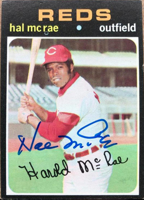 SOLD 118248 Hal McRae Autographed 1971 Topps #177