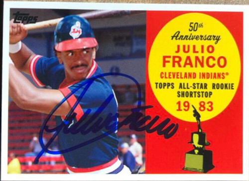 Julio Franco Autographed 2008 Topps All-Rookie Team 50th Anniversary #AR19