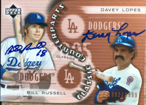 Bill Russell & Davey Lopes Dual Autographed 2005 Upper Deck Classic Counterparts #CC-RL LE/1999
