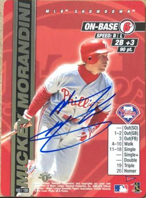 Mickey Morandini Autographed 2000 MLB Showdown Pennant Run 1st Edition #103