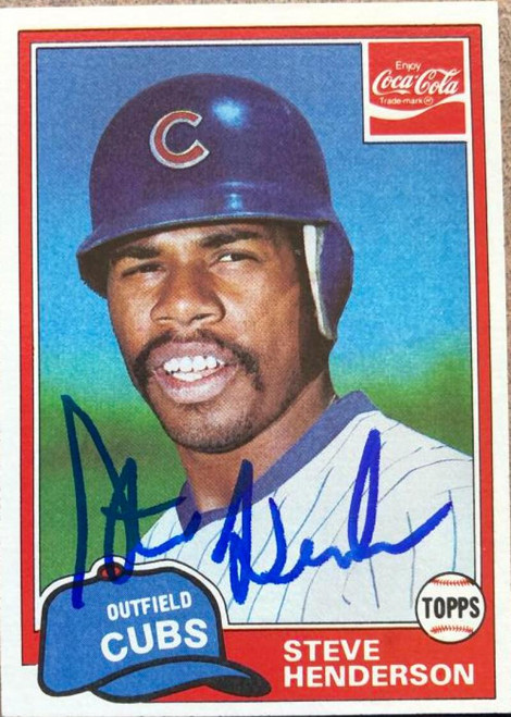 Steve Henderson Autographed 1981 Topps Coca Cola Chicago Cubs #5