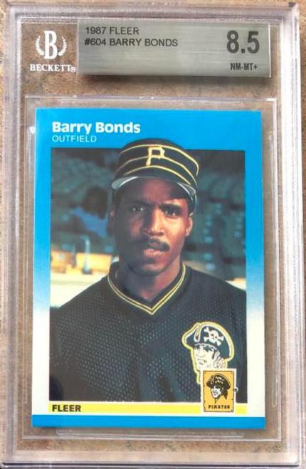 SOLD 119348 Barry Bonds 1987 Fleer #604 Beckett 8.5 NM-MT+ Slabbed