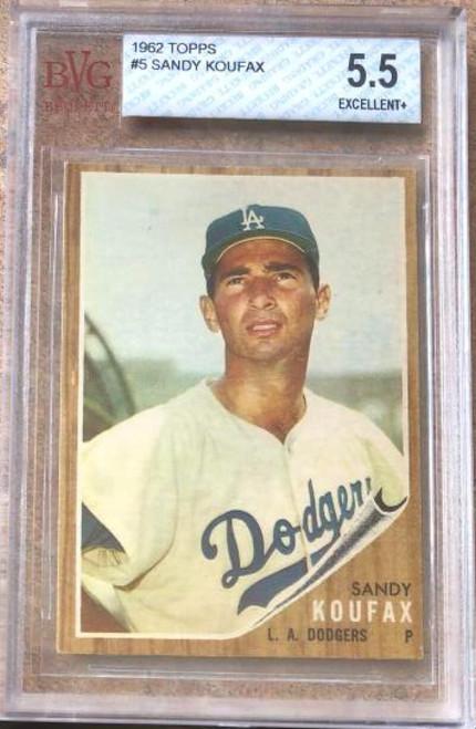 SOLD 119351 Sandy Koufax 1962 Topps #5 Beckett 5.5 Slabbed