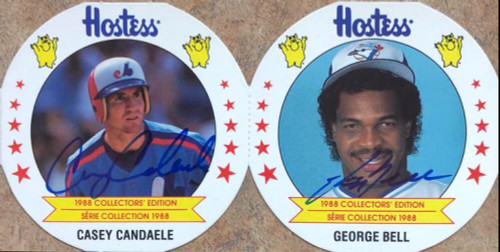 Casey Candaele and George Bell Dual Autographed 1988 Hostess Potato Chips #12
