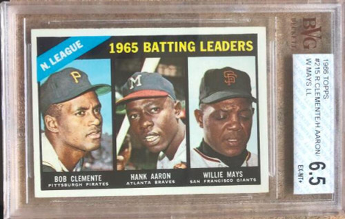 Roberto Clemente, Hank Aaron, Willie Mays LL 1966 Topps #215 Beckett 6.5 Slabbed