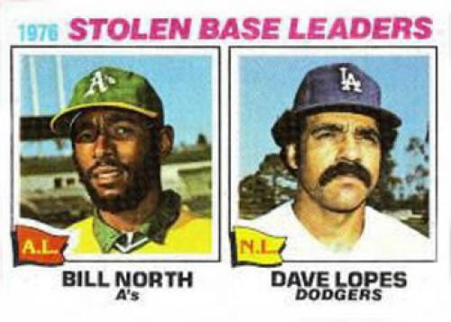 1977 Topps #4 Bill North/Davey Lopes Stolen Base Leaders VG Oakland Athletics/Los Angeles Dodgers