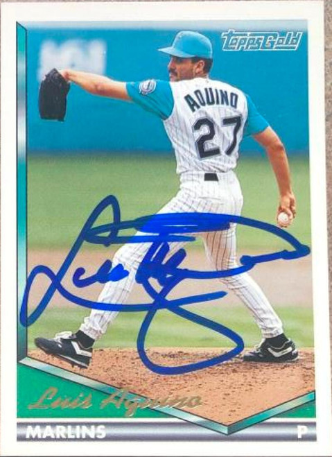 Luis Aquino Autographed 1994 Topps Gold #76