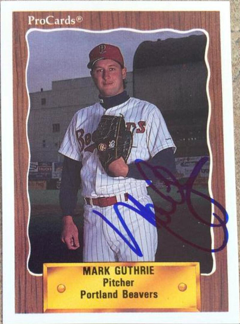 SOLD 119675 Mark Guthrie Autographed 1990 Pro Cards #174