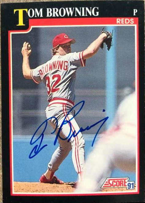 Tom Browning Autographed 1991 Score #229