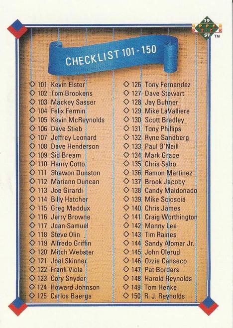 1991 Upper Deck #200 Checklist 101-200 VG Checklist