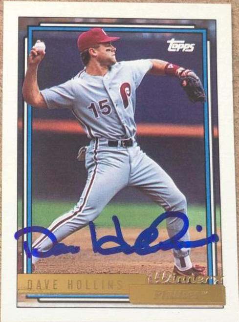 Dave Hollins Autographed 1992 Topps Gold Winner #121