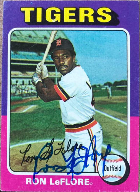 Ron LeFlore Autographed 1975 Topps #628