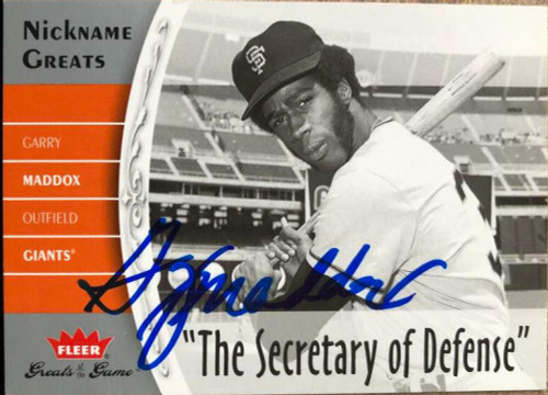 Garry Maddox Autographed 2006 Fleer Greats of the Game - Nickname Greats #NG-GM