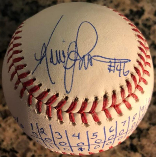 Kevin Gross Autographed Very Unique No-Hitter Box Score Inscribed ROMLB Baseball
