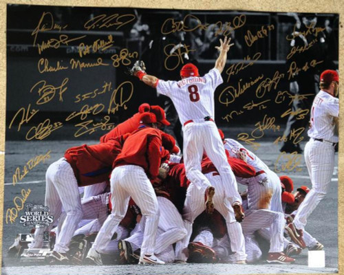 2008 World Series Champion Phillies Team Signed Photofile 16 x 20 Photo 32 Autographs