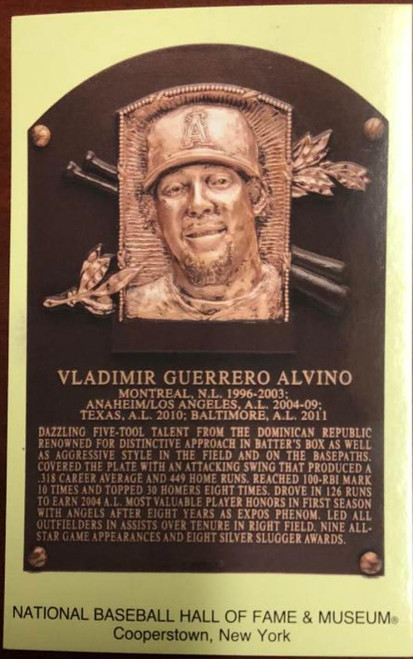 Vladimir Guerrero Stamped and Canceled Hall of Fame Gold Plaque Postcard