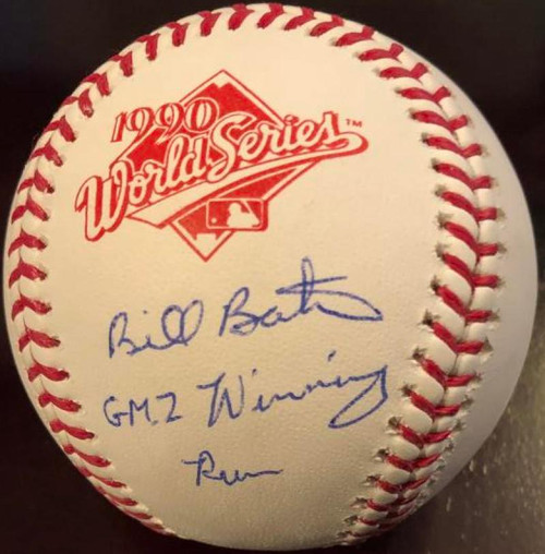 Billy Bates Gm 2 Winning Run Autographed Rawlings Official 1990 World Series Baseball VERY RARE