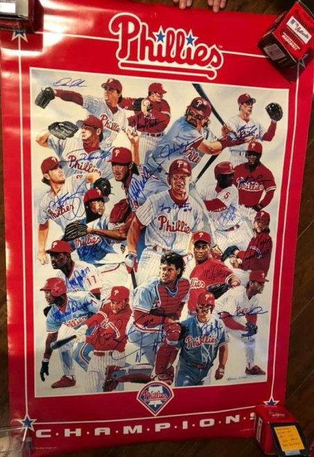 1993 Phillies Autographed Poster All Players Pictured TOUGH TO FIND