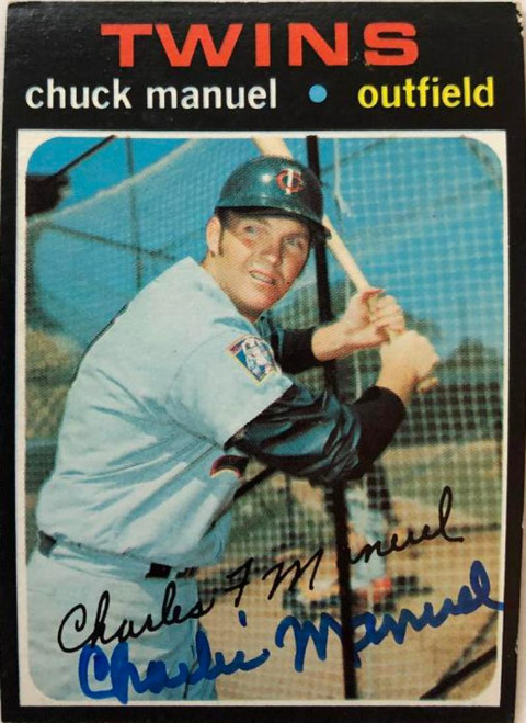 """Chuck """"Charlie"""" Manuel Autographed 1971 Topps #744"""
