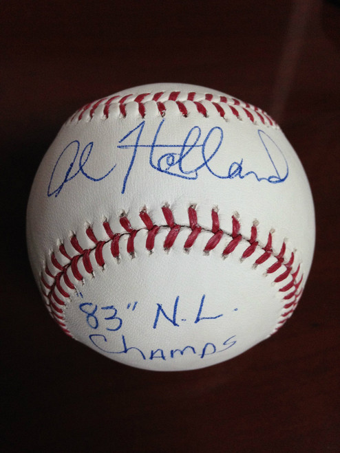 SOLD 877 Al Holland Autographed ROMLB Baseball 83 NL Champs