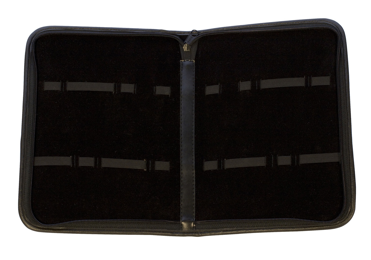 Zippered Leatherette Tool Pouch With 16 Bands Black In Color